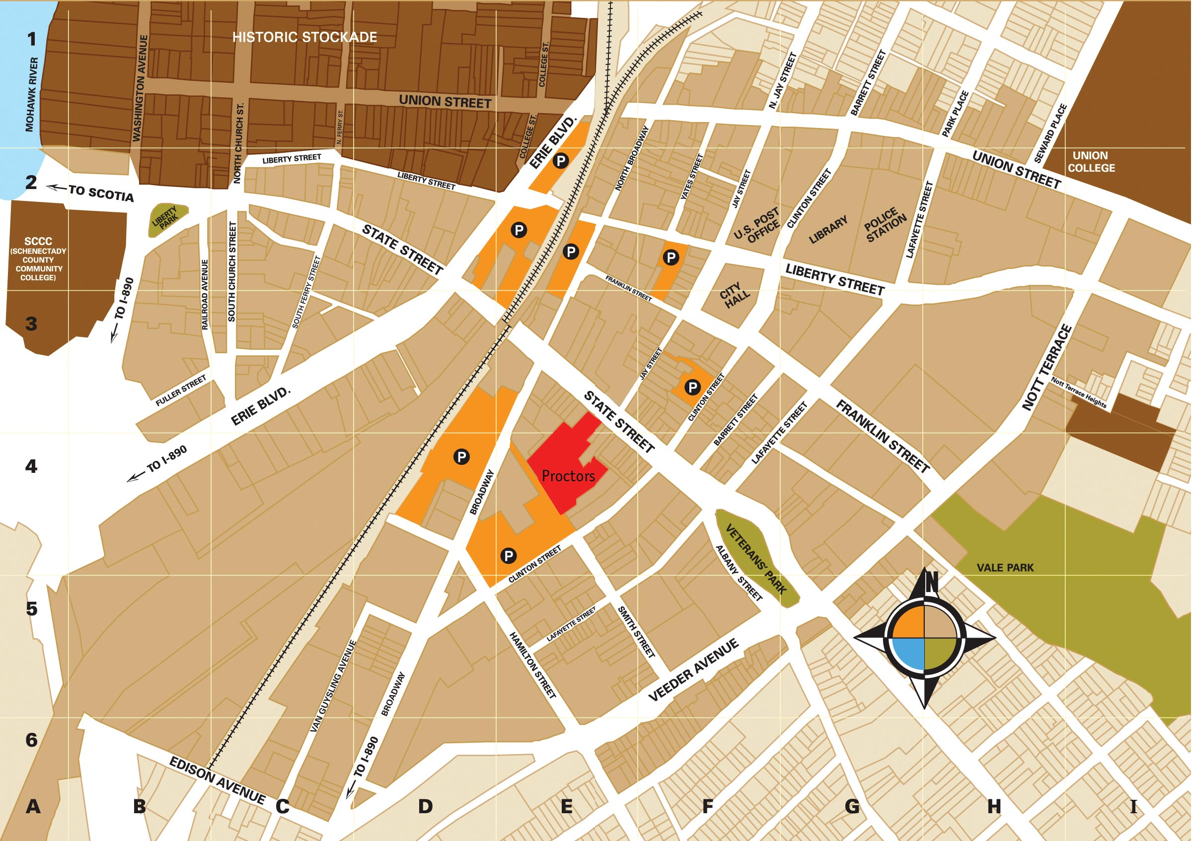 Parking map of Downtown Schenectady