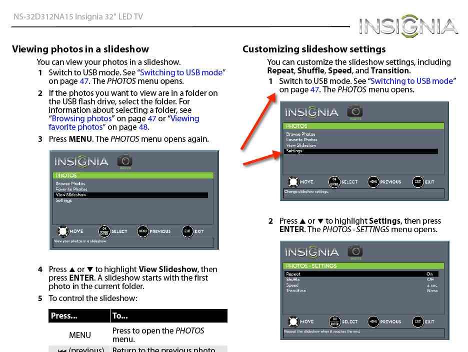 Slideshow settings on model NS-32D312NA15 - Best Buy Support